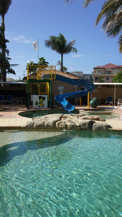 The waterslide and plunge pool.