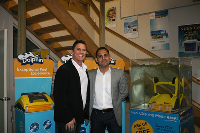 Pool Ranger MD Michael Griffin with Chris Papa and the Dolphin robotic cleaner.