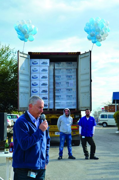 Maytronics staff celebrate the first container-load of the S-series cleaner in Israel..