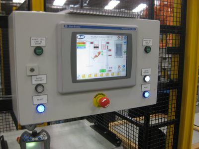 The PanelView Plus 1000 touch screen HMI is easy to navigate and incorporates a number of selection options.