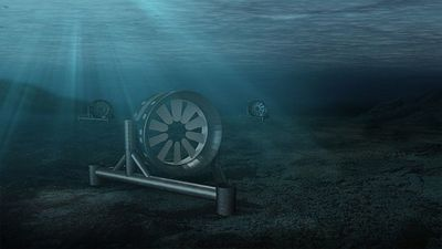 A drawing of EDF's tidal array off the coast of Brittany (Source: EDF).