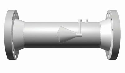 Cut-away side view shows the V-Cone flow meter's V-shaped conical intrusion in the centre of the pipe.