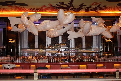 The bar and water feature.
