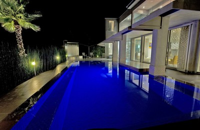 A long view of the pool at night.