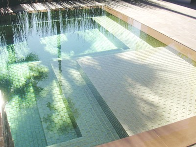 Detail of the completed glass tiling in the pool.