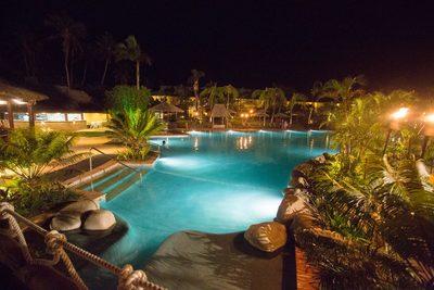 The resort pool at night.