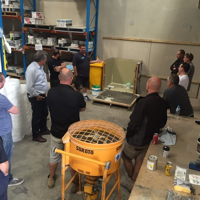 A photo of the training day held at LATICRETE's Smeaton Grange warehouse.