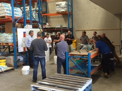 A shot of the training day held at LATICRETE's Smeaton Grange warehouse.