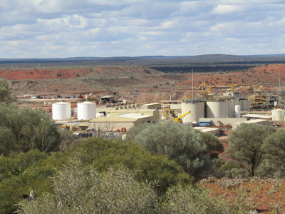 Buildings and tanks above ground at the Granny Smith gold mine