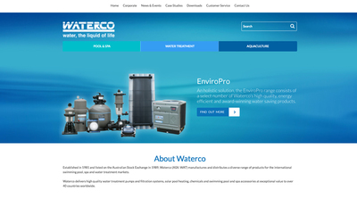 Waterco's new website homepage.