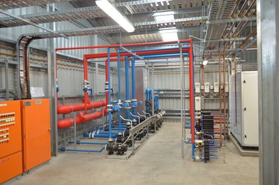Heating system manifolds, pumps and plate heat exchangers for the 25 and 50 m pools.