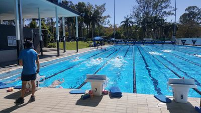 The SwimWall System in use in the aquatic centre's 50 m pool.