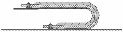Figure 1: Strain relief on both ends of a cable carrier, resulting in the cable resting in the neutral axis.
