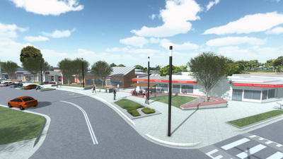Artist's impression of smart poles in a Newcastle surburb.