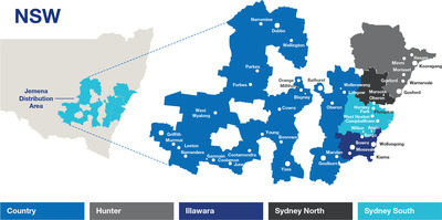 Map of NSW, showing areas where Jemena operates