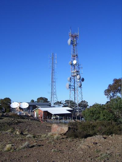 Antenna towers on a hilltop