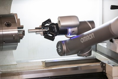 Collaborative robots are ideal for automating machine tending tasks, such as removing finished parts from CNC machines. Source: Omron Automation Americas.
