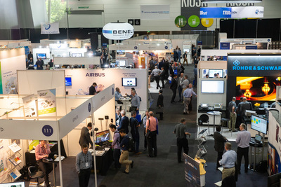 A photo of lots of exhibitor stands at Comms Connect