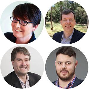 Headshots of Anna Johnston, William Shipway, Phil Kernick and Jason Duerden.