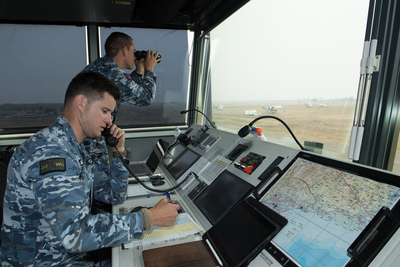 RAAF air traffic controllers inside a portable control tower