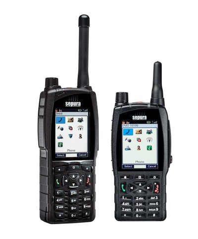 Sepura SC20 and SC21 handheld two-way radios standing side by side