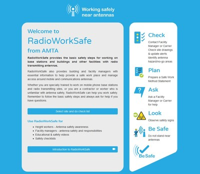 A screenshot of the RadioWorkSafe app welcome screen