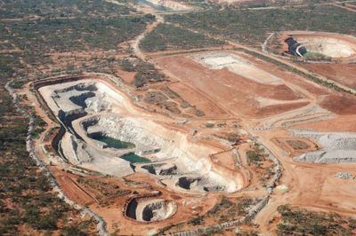 An aerial view of an open cut mine