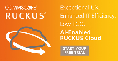 Promotional graphic for Ruckus Cloud free trial