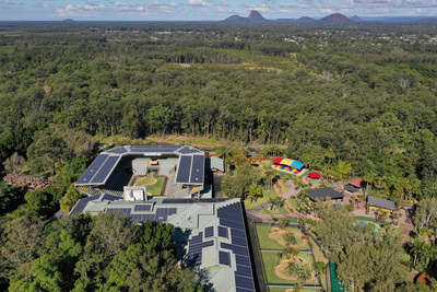 Aerial photograph of Australia Zoo buildings and grounds